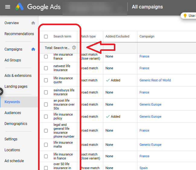 A benefit of PPC and Google Ads - Search Terms report