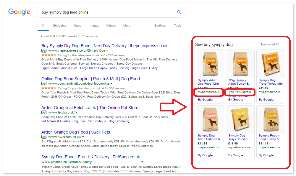 Example of What Google Shopping Ads look like