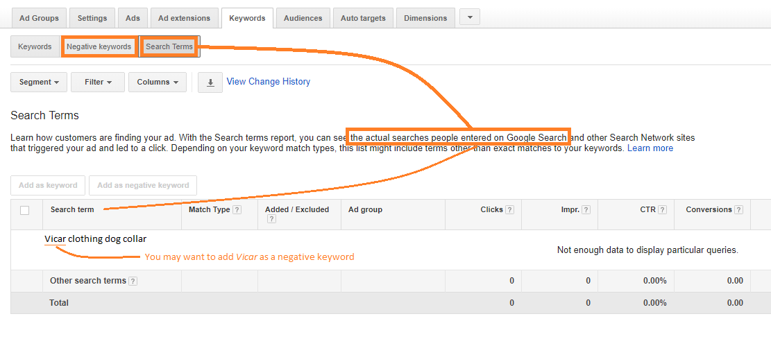 reduce wasted spend in adwords using negative keywords