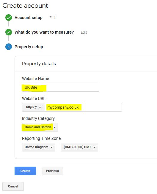choose the appropriate google analytics property settings for your wordpress site