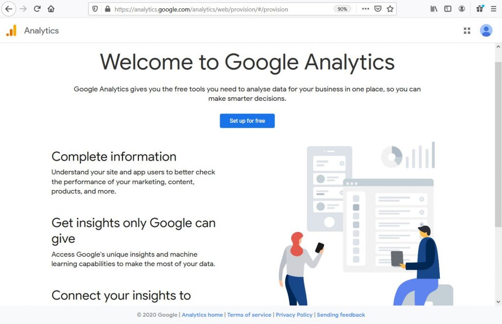 Google Analtics welcome screen