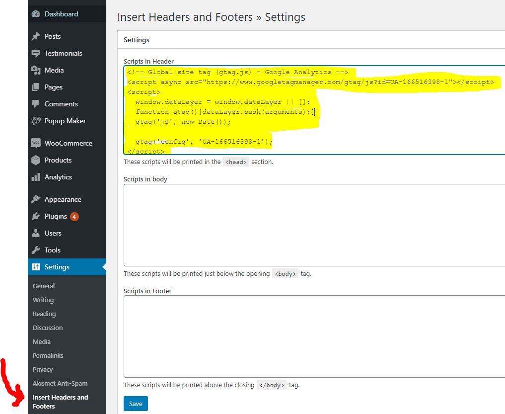install google analytics tracking code into wordpress header scripts section