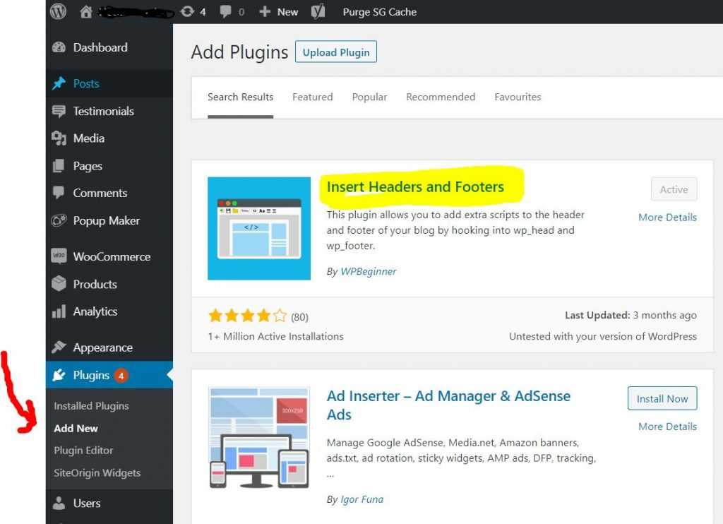 install insert headers and footers into wordpress