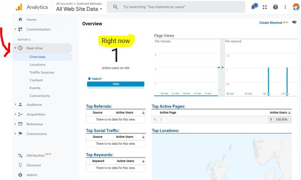 realtime visitor tracking in google analytics on wordpress